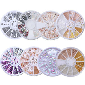 Nail-Rose-Gold-Silver-Mixed-Rivet-Studs-Rhinestones-Holo-3D-Decoration-in-Wheel