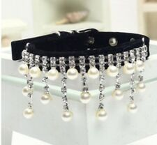 New Black Pearl and Rhinestone Diva Dog Collar Bling for Dog Pig Cat Large