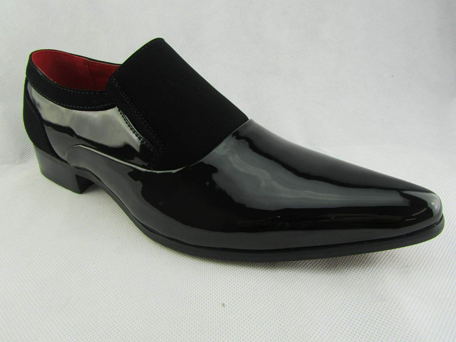 Rossellini Hackney Men Shoes Black Lined Nubuck Leather Lined Black Pointed Slip On Smart c8e5ec