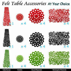 Image Is Loading Table Felt Accessories Runner Placemats Coasters Dollies Red