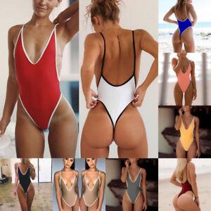 1f59b9a3fb4 Women One Piece Monokini High Cut Thong Summer Backless Swimsuit ...
