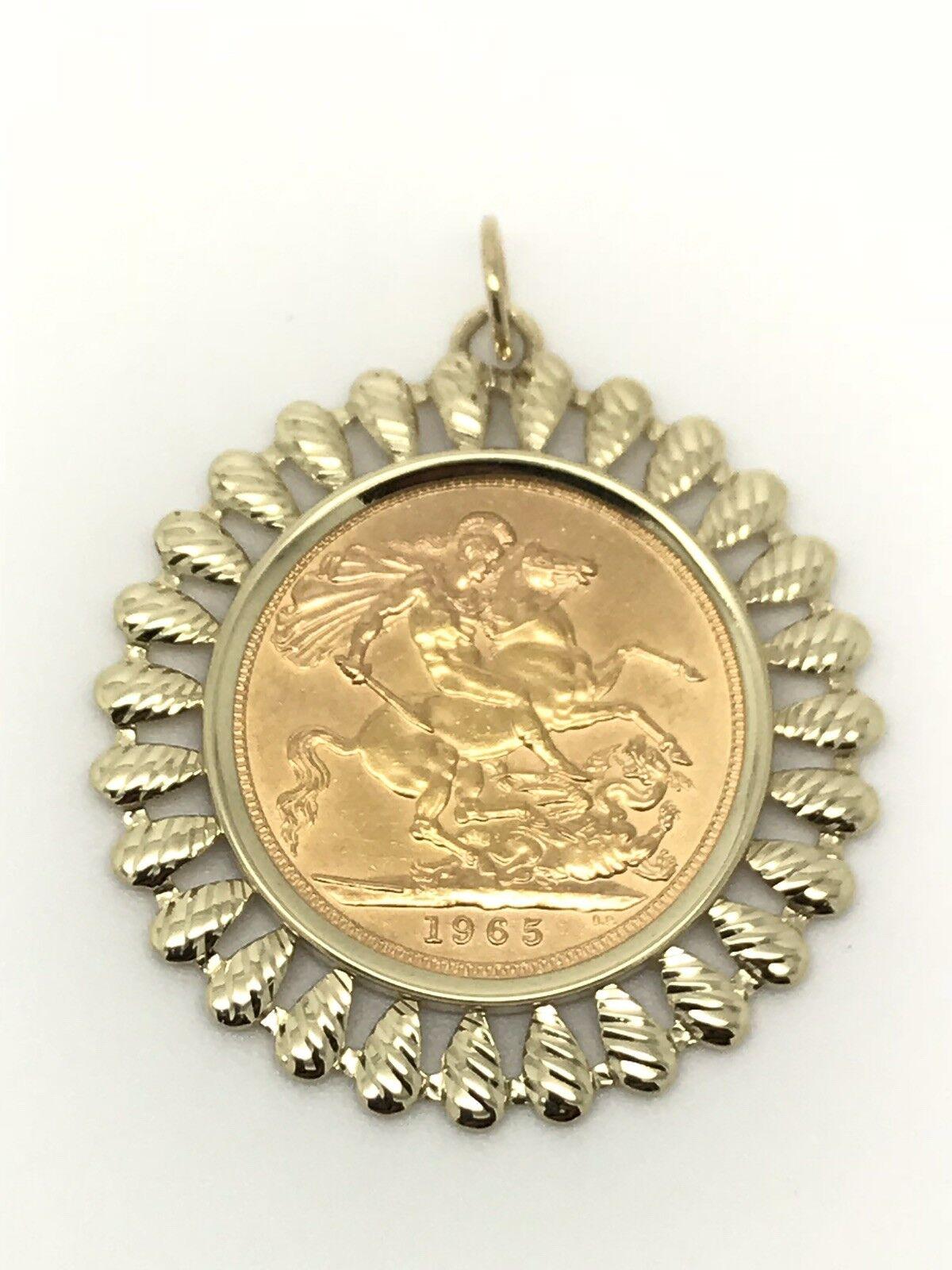 1965 Full Sovereign Pendant - Elizabeth II - 22ct gold - Frill Mount - 10.45g