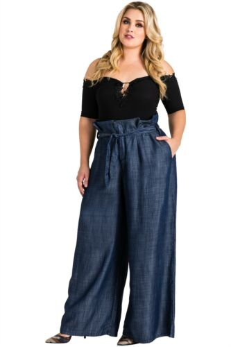 Standards /& Practices Plus Size Women Paper Bag Waist Tencel Denim Palazzo Pants