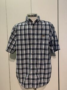 Men-s-Carhartt-Button-Down-Short-Sleeve-Shirt-Size-Large-Blue-Plaid