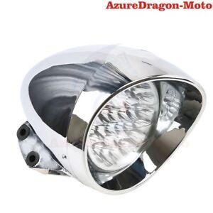 7-034-LED-Motorcycle-Chrome-Headlight-White-Light-For-Harley-Dyna-Chopper-Bobber