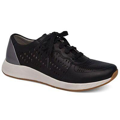 Amabile Dansko Donna Charlie Sneaker Pelle Nera Scarpe Passeggio Sz 37 39 40 Pennino