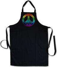 RAINBOW PEACE SYMBOL BBQ COOKING KITCHEN APRON Sign Logo Hippie 60s Goa Gay