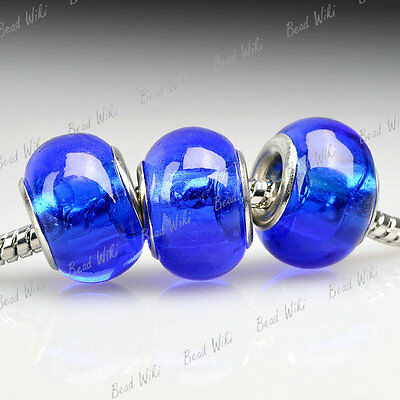 5 Blue Murano lampwork Glass Bead Fit European Charm Bracelet Necklace LB0073