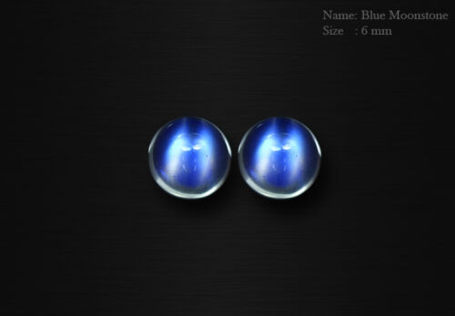MATCHING PAIR 6 MM NATURAL INDIA MINE AMAZING BLUE MOONSTONE CABOCHAN AAA