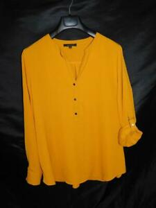 Ellen-Weaver-L-Orange-Henley-Shirt-Hi-Low-Hem-V-Neck-Roll-Tab-Sleeve-Cuffs-Lg
