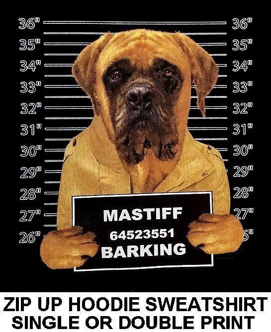 VERY COOL MASTIFF MUG SHOT FUNNY NAUGHTY BAD DOG ZIP HOODIE SWEATSHIRT 782