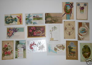 LOT-OF-59-GREETINGS-VINTAGE-POSTCARDS-BEST-WISHES-HAPPY-DAYS-FLOWERS-ETC