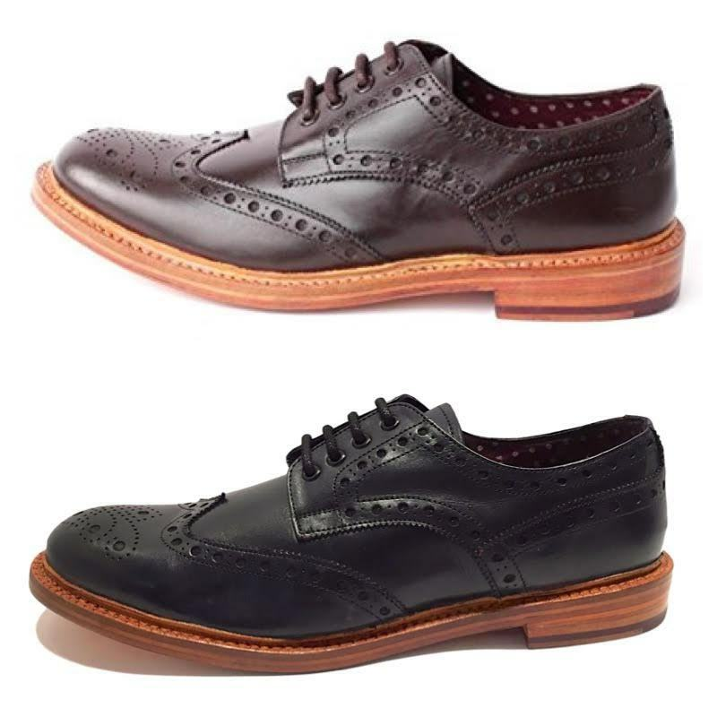 London Brogues Brunswick Leather Mens Goodyear Welted Smart Formal Shoes New