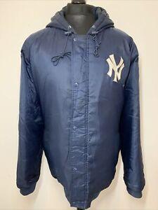 Genuine MLB Merch NY New York Yankees Blue Bomber Jacket Hooded Vintage Coat XL