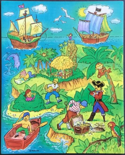Vintage Stickers Pirate Treasure Island American Greetings Mint Condition