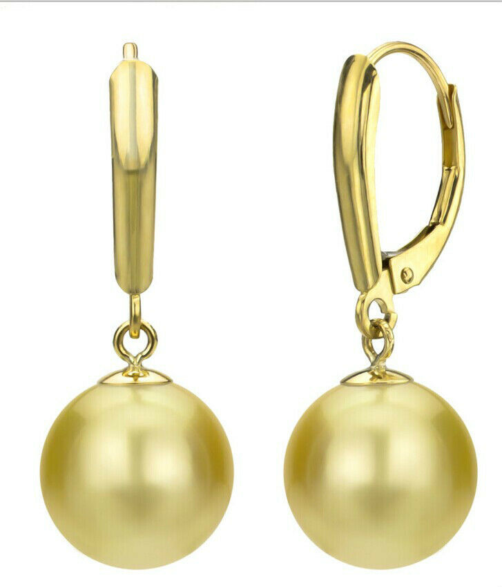 Gorgeous natural10-11mm natural south sea gold pearl earring14k