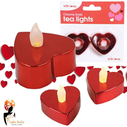 Valentine LED tealights Heart Shape Red Chrome Finish Party Table Decoration