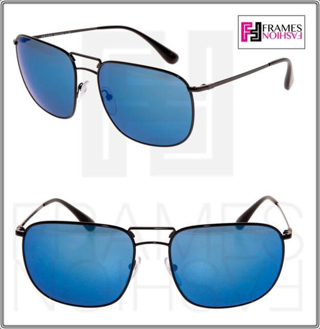 e12bf87f42 PRADA COLLECTION LEAD PR52TS Shiny Black Blue Mirrored Metal Sunglasses 52T  Men