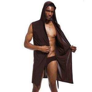 Cool-Mens-Sexy-Hooded-Robe-Sleeveless-Sleepwear-Silk-Pajamas-Bathrobe-S-4XL