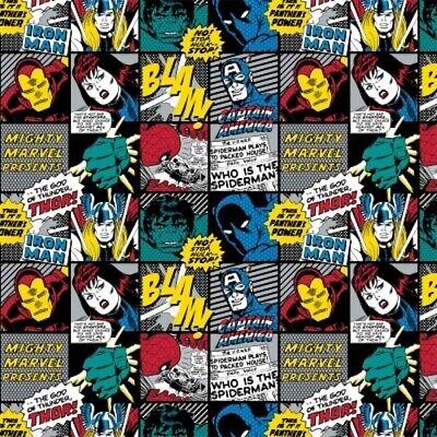 Fat Quarter Marvel Comic Superheros Retro Badge Sewing Cotton Quilting Fabric