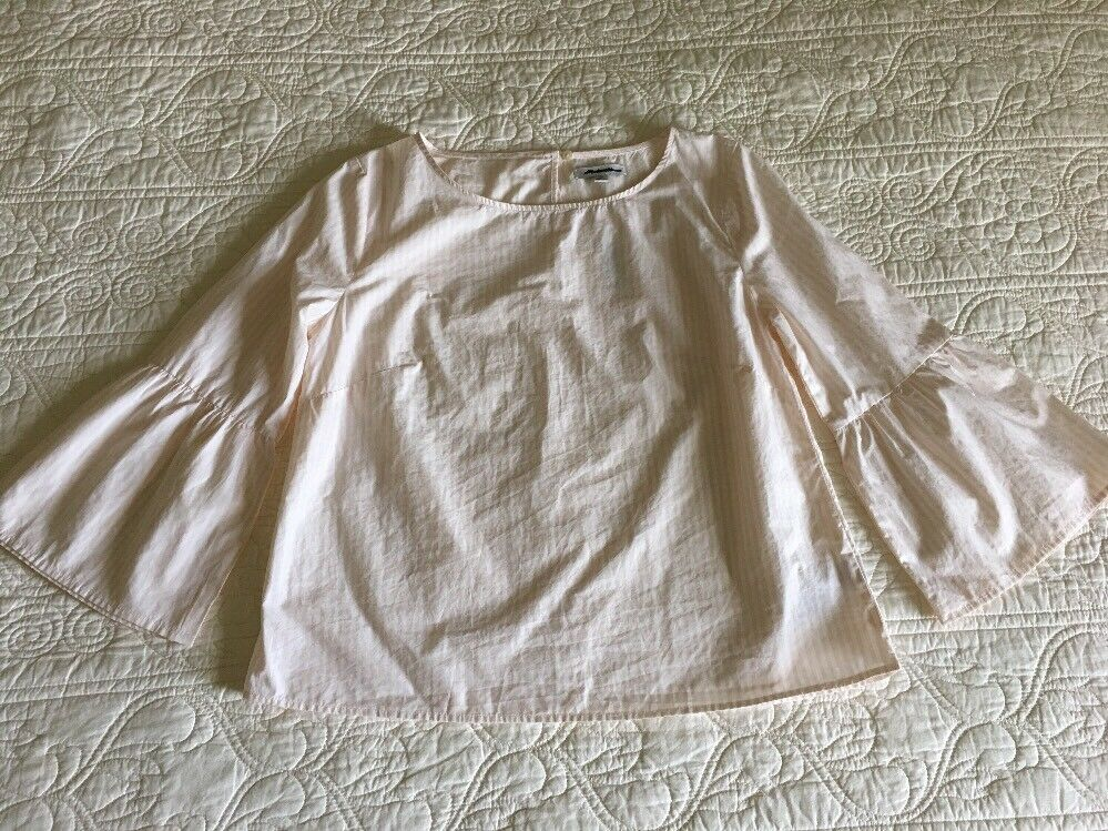 NWT Madewell Weiß Soft Rosa Striped Bell-Sleeve Top Sz Xxs G2081 Sold Out