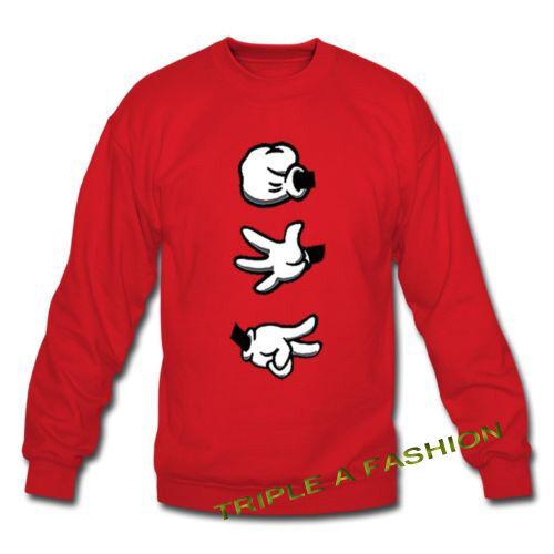 Stein Papier Schere Mickey Hand Rot Sweatshirt