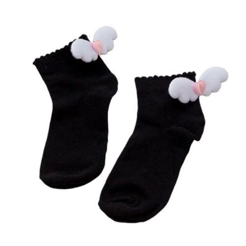 Harajuku Student Lolita Cotton Socks Cute Angel Wings Heart Decor Girls Hosiery