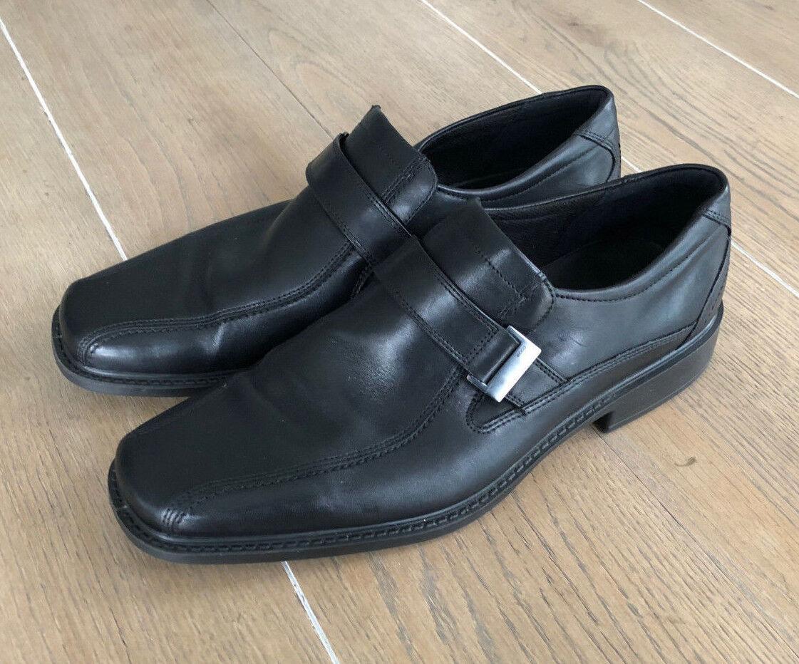 Ecco Men's EU 46 Black Leather Slip On Loafer Strap Buckle shoes