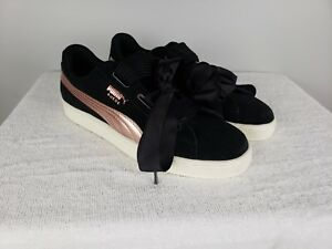 fa9ab417 Details about Puma Suede Heart Size 7C Shoes Girls Grade School Black/Rose  Gold 36587101