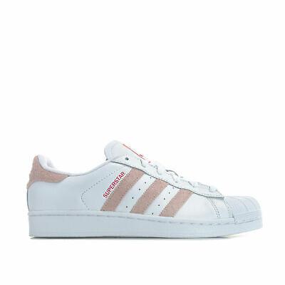 Zapatos De Cuero para mujeres Adidas Originales Superstar Zapatillas Blanco Rosa AQ0971 | eBay