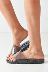 db28a0138e68 Image is loading URBAN-OUTFITTERS-Sandals-JELLY-SLIDES-6-Black-Silver-