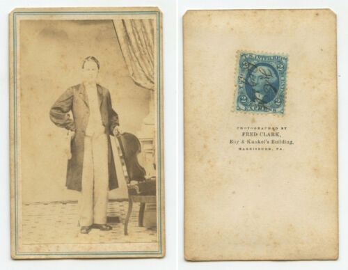 CIVIL WAR ERA PORTRAIT OF MAN W STAMP CDV BY CLARK, HARRISBURG, PA