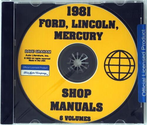 1981 Ford Mercury Lincoln Car Factory Service Manual Shop Repair CD