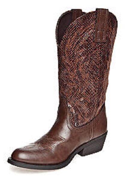 Rampage Walden Braun Faux Snake Leder Calf Western Cowboy Boot, 7.5M -MSRP 89