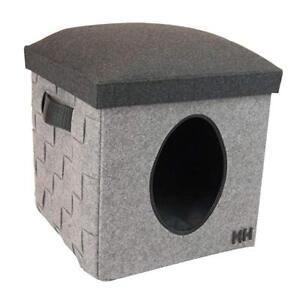 Maison pour animaux de compagnie grise et repose-pieds élégant et élégant, grand chat, boîte pour caverne de chien Igloo