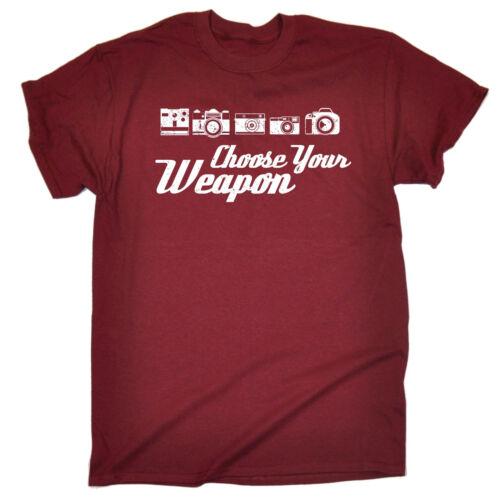 Scegli la tua arma Foto Da Uomo T-shirt Tee Regalo Di Compleanno fotografo Fotografia