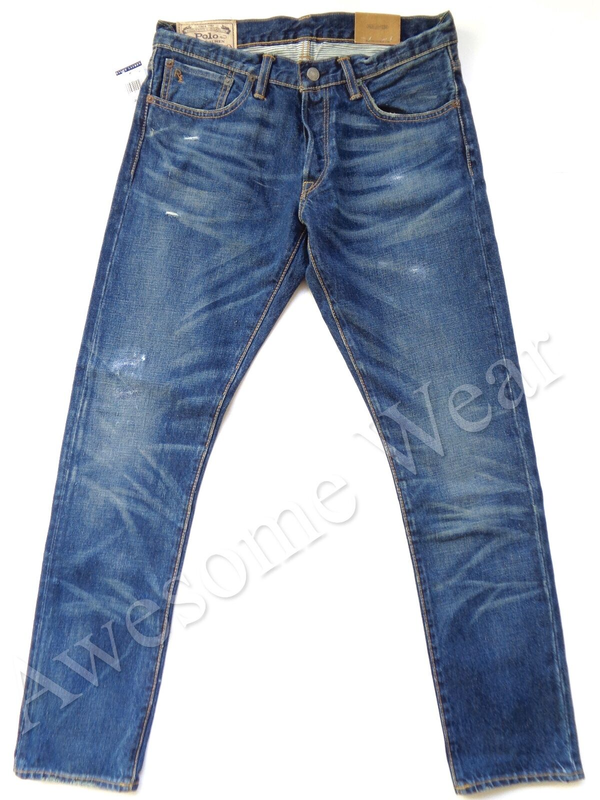 New Ralph Lauren Polo 100% Cotton Sullivan Slim Distressed Jeans size 35 x 32