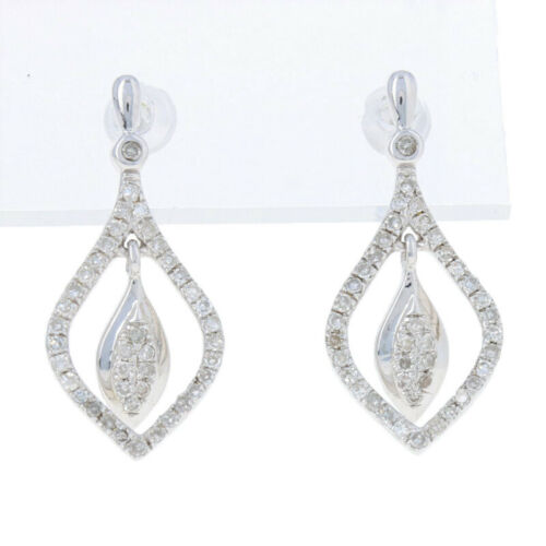 NEW .33ctw Single Cut Diamond Earrings Sterling Silver Pierced Drops