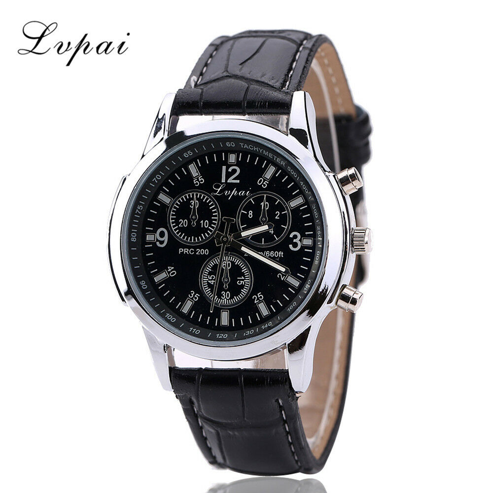 Mens Watch Stainless Steel Leather Black/Brown Strap Analog Wrist Watches 2019