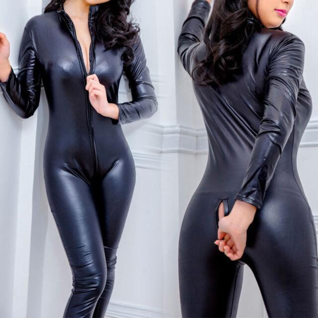 Men/'s Faux Leather Clubwear Wet Look Bodysuit Long Sleeve Jumpsuit Catsuit M-XL
