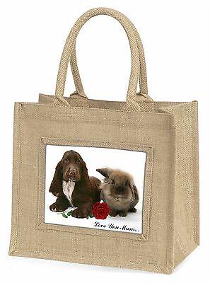 Spaniel+Hase+Rose 'Liebe, die Sie Mama' groß Natürliche Jute Einkauf Tasche,