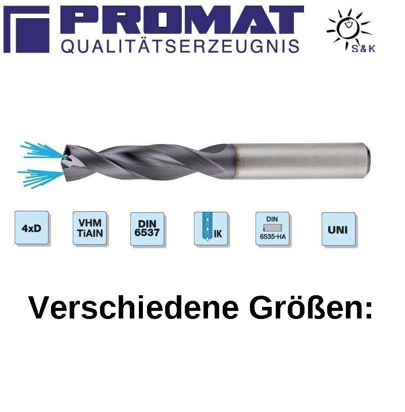PROMAT Spiralbohrer DIN 6537 VHM TiAlN IK 4xD Schaftform HA mit Kühlmittelzufuhr