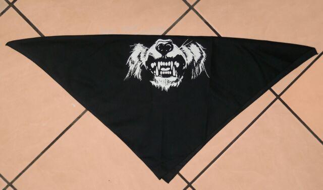 "Vintage Biker Bandana, Black Cotton, Motorcycle, Halloween, Wolf Print, 21"" Sq."