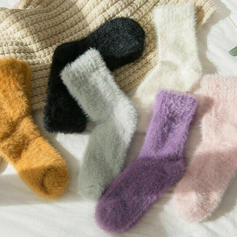 3 Paar Kunstpelz Damen Mädchen Socken Söckchen Flauschig Wickler Warm Solid