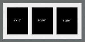 Multi Aperture Photo Picture Frame To Hold 3 8x10 Photos In A Grey