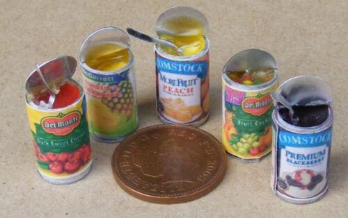 SCALA 1:12 Set di 5 Apri barattoli di frutta tumdee Casa delle Bambole Accessorio Cucina Cibo