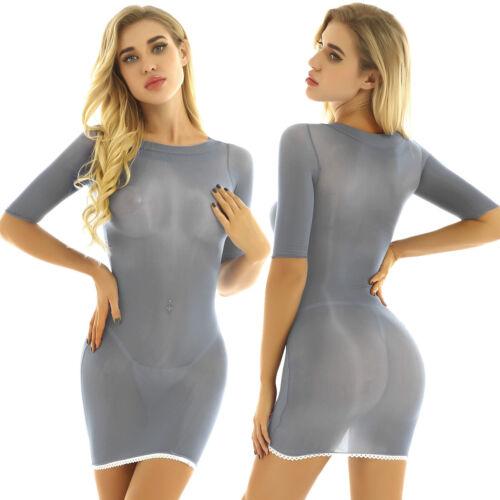 Women Half Sleeves Bodycon Mini Dress Evening Party Cocktail Mesh Sheer Clubwear