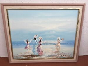 Ladies on the Beach oil on canvas art signed