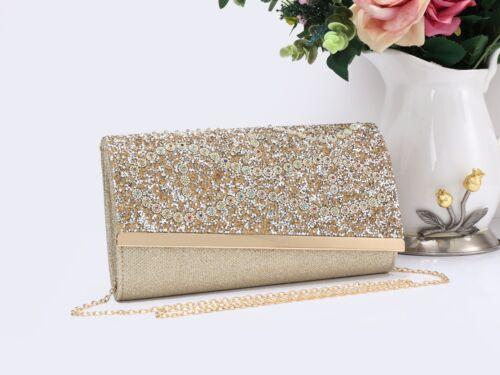 Ladies Women/'s Glitter Stylish Magnetic Evening Clutch Purse Pouch Bag Handbag