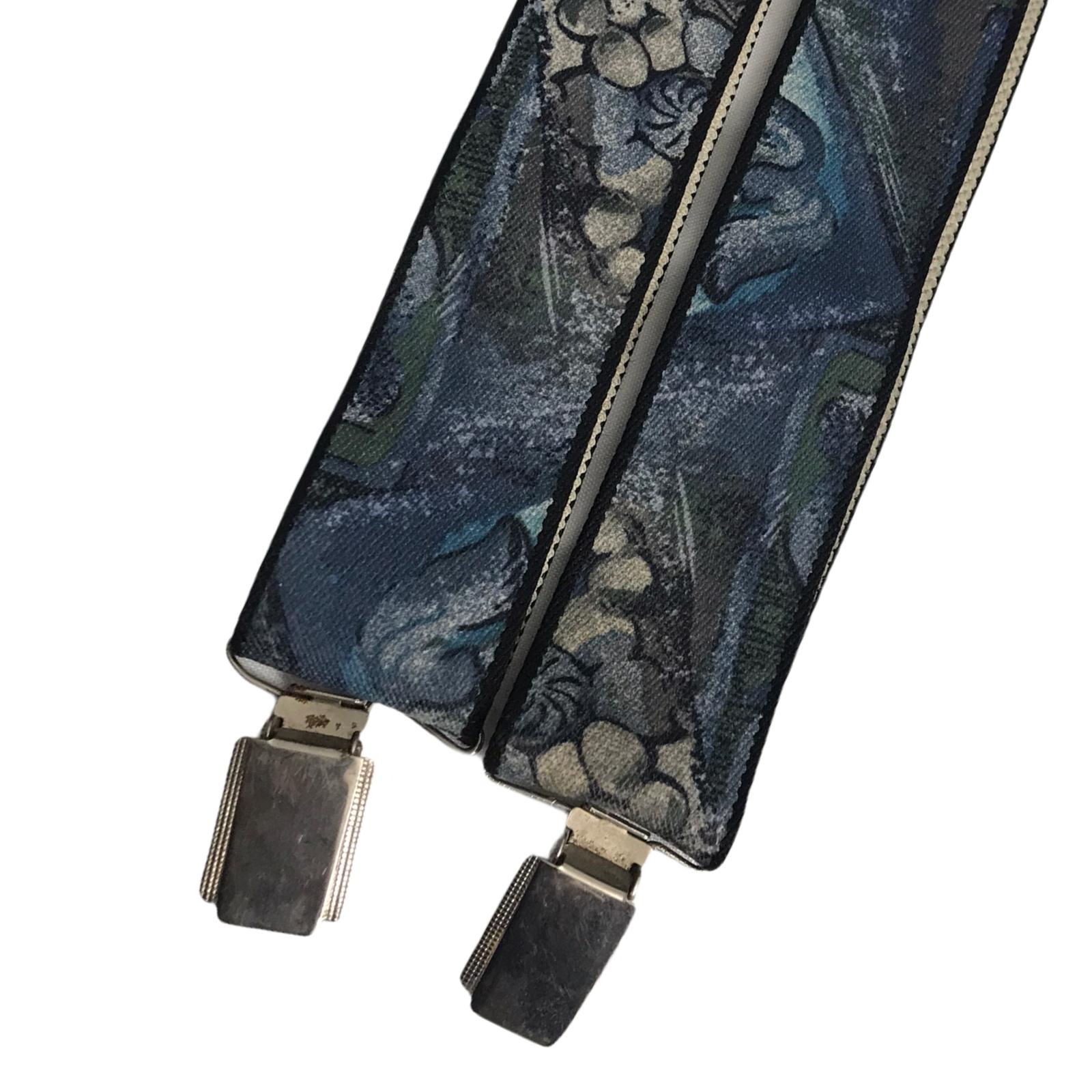 Retro 80's Blue Y-Shape Thick Adjustable Back & Front 3-Clip Braces Suspender